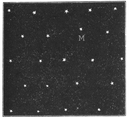 A black square representing the night sky, with many identical white stars drawn on it. One of the stars is labelled with a capital letter M to indicate our Sun.
